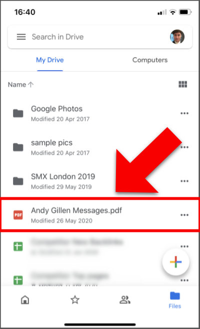 Accessing Android messages on iPhone - Google Drive