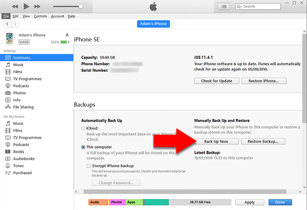 Backup iPhone messages with iTunes