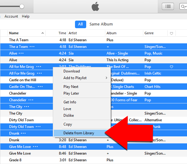 Delete duplicate tracks in iTunes