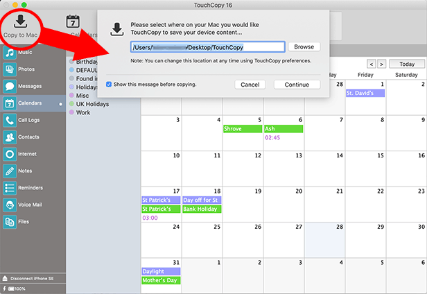 How to backup iPhone calendars to Mac