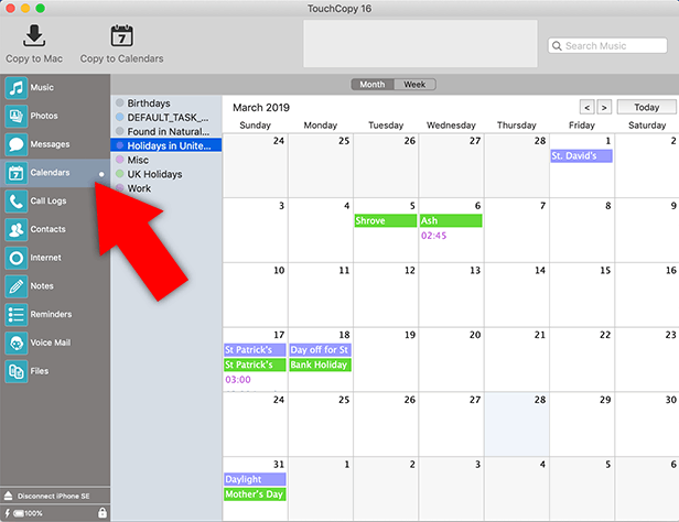 How to export iPhone calendar to Mac