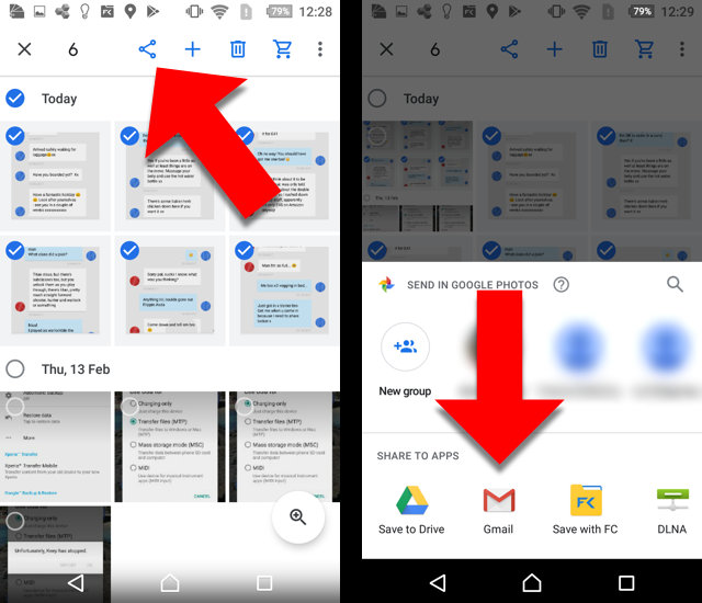 How to print screenshots of Android text messages