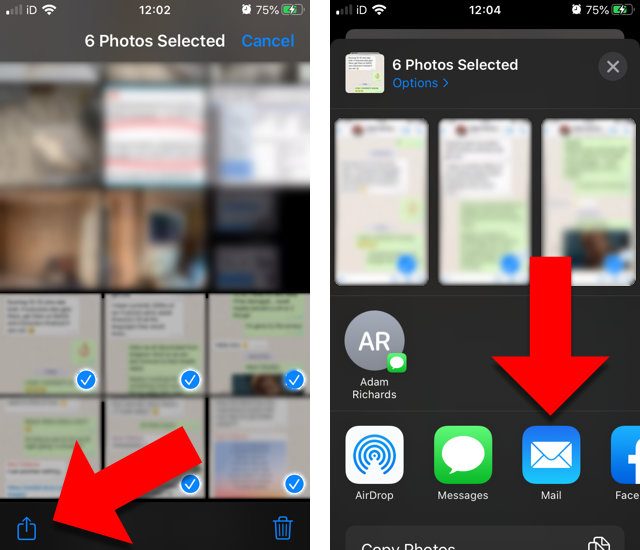 How to print screenshots of iPhone text messages