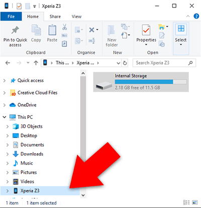 Wählen Sie im Windows-Datei-Explorer das Android-Gerät aus