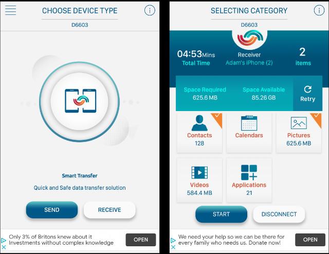 Transferring data using Smart Transfer app
