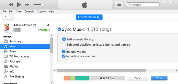Sync iTunes music with iPhone