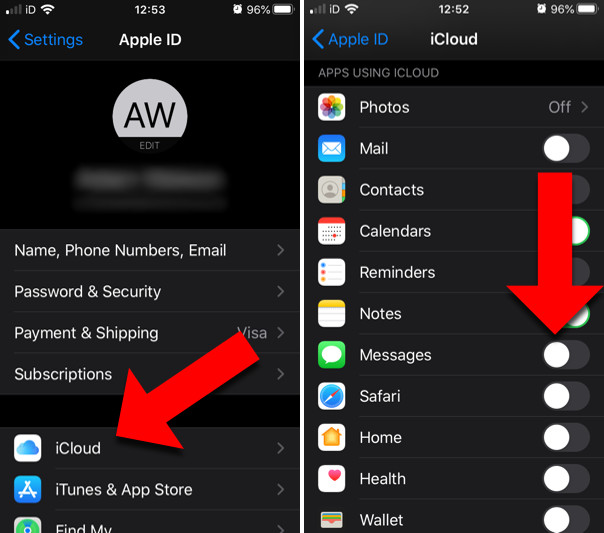 How to sync iPhone messages with iCloud