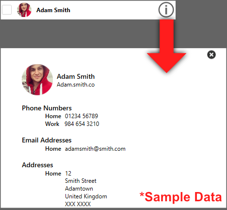 Viewing a contact information in Contact Transfer
