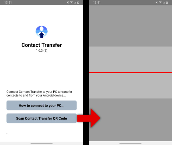 Open the Contact Transfer QR code scanner