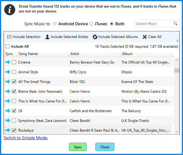 Sync iTunes with Android phone - Advanced Mode
