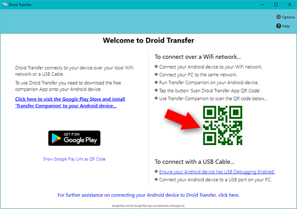 Droid Transfer connect screen