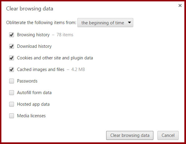 Delete temporary files by clearing browsing data