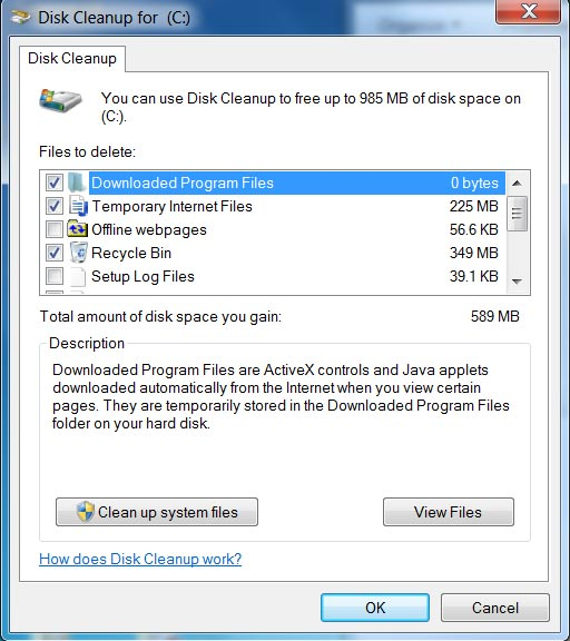 Disk cleanup temporary files