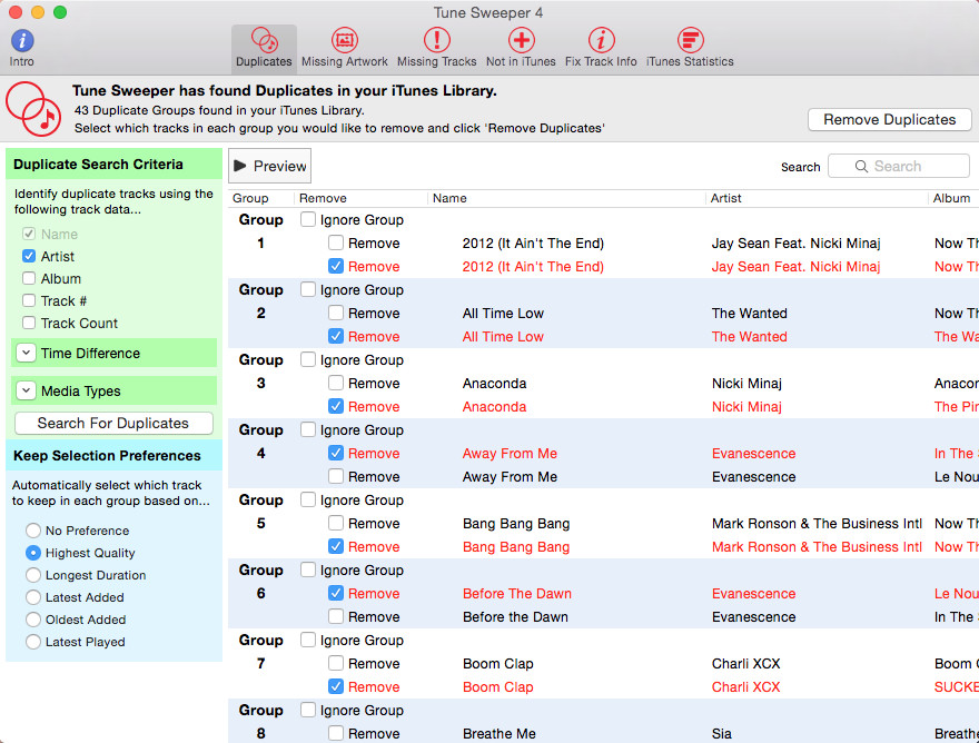 Tune Sweeper 4 released for Mac OS X - iTunes Cleaner Software prMac