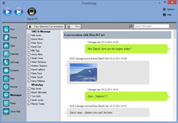 TouchCopy Messages feature screenshot