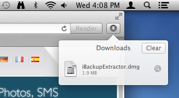 Launch the iBackup Extractor installer from your browser
