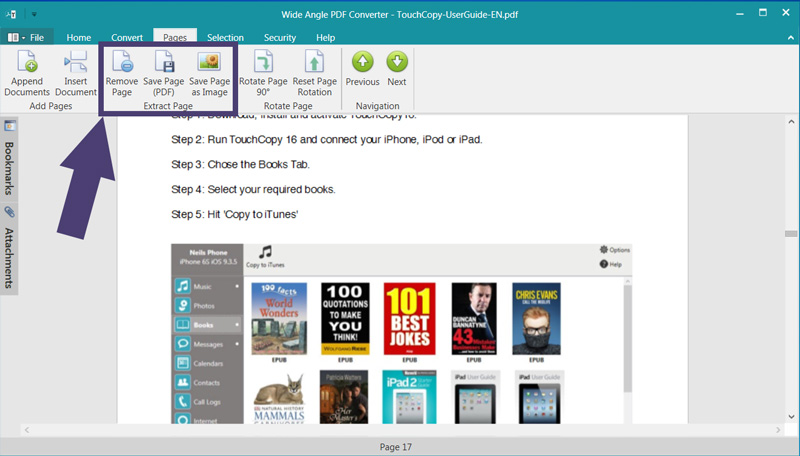 Extract pages from PDF | Wide Angle PDF Converter