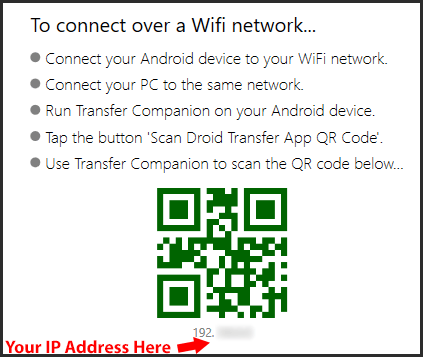 Troubleshooting Droid Transfer WiFi Connection
