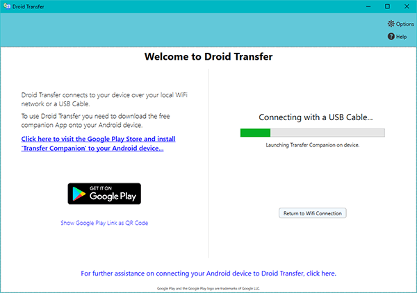 connect droid transfer and transfer companion with usb