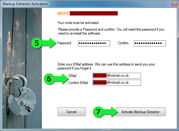 Create a password and activate TouchCopy