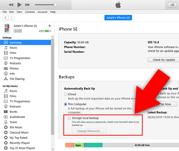 How to remove encryption from iPhone.