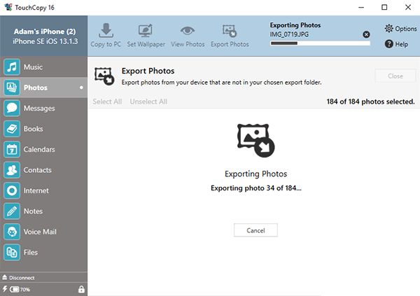 Exporting photo from iPhone with TouchCopy