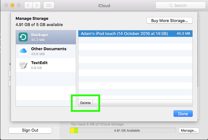 remove backups from icloud