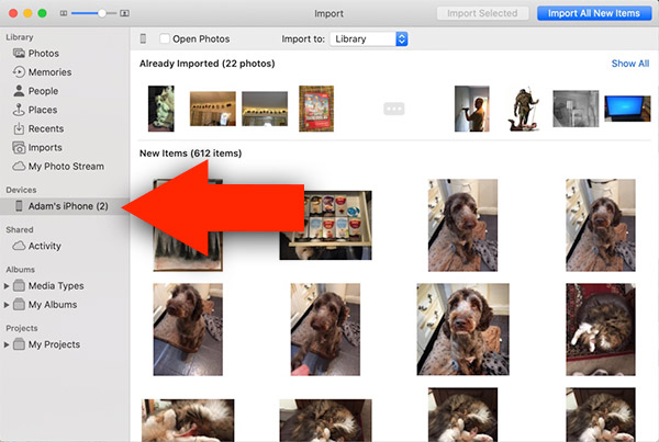 Import iPhone photos to Mac or MacBook using Photos app