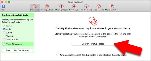 Find duplicate music in Catalina Music app