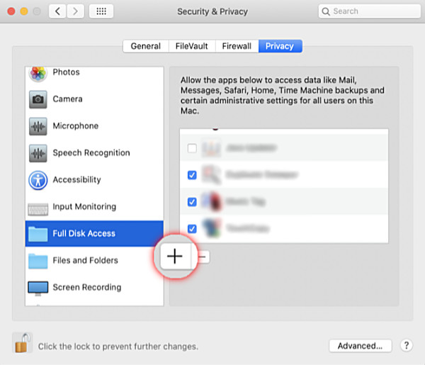 Setting full disk access for an app on Mac