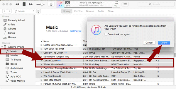 How to delete songs from iPod or iPhone using iTunes.