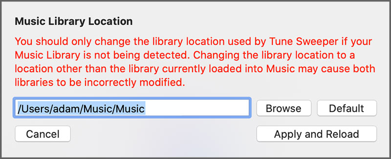 Set iTunes library location on Mac