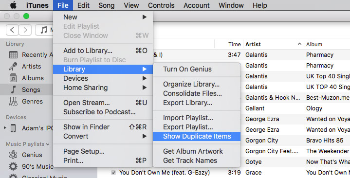 Find duplicates in iTunes library