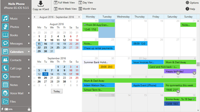 How to copy calendars from iPhone to computer